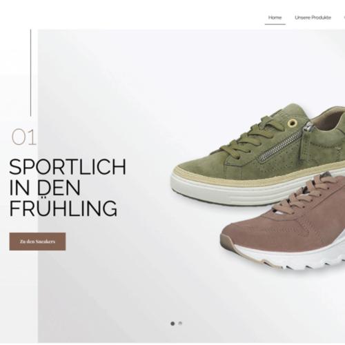 """Schuhhaus Pöltl Onlineshop Banner """"Sportlich in den Frühling"""" mit Schuhen aus der Frühjahrskollektion."""