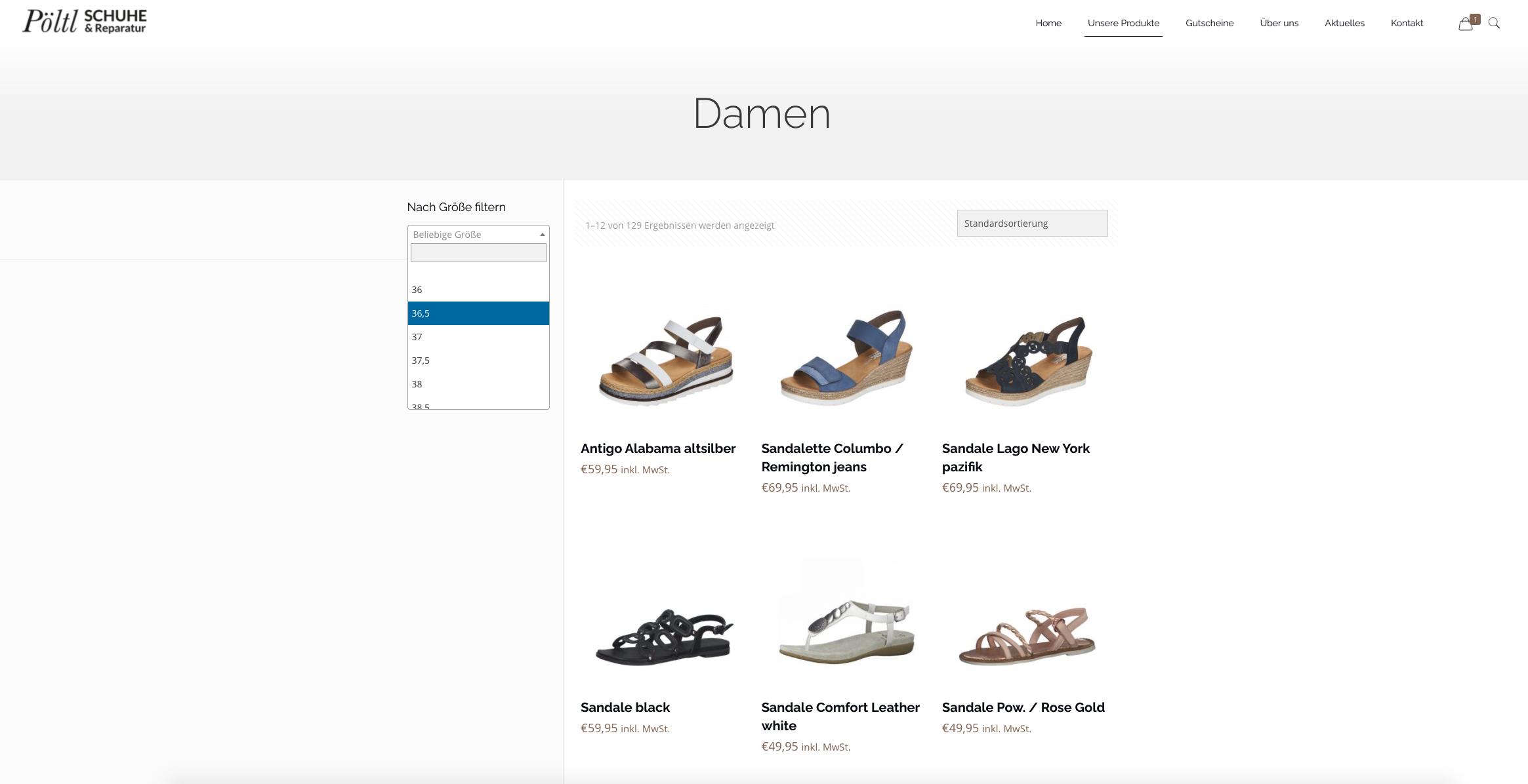 Produktübersicht von Sandalen im Schuhhaus Pöltl Onlineshop.