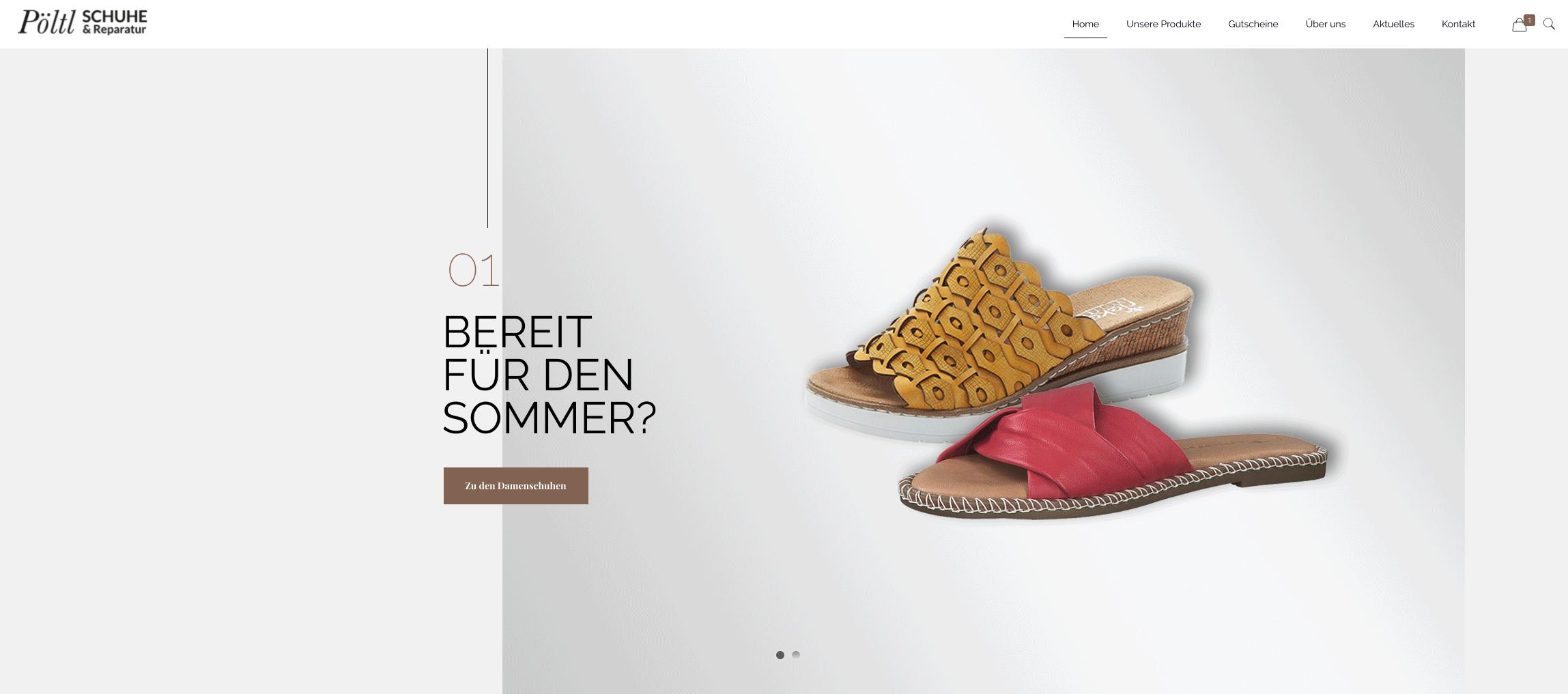 """Schuhhaus Pöltl Onlineshop Banner """"Sportlich in den Frühling"""" mit Sandalen aus der Frühjahrskollektion."""