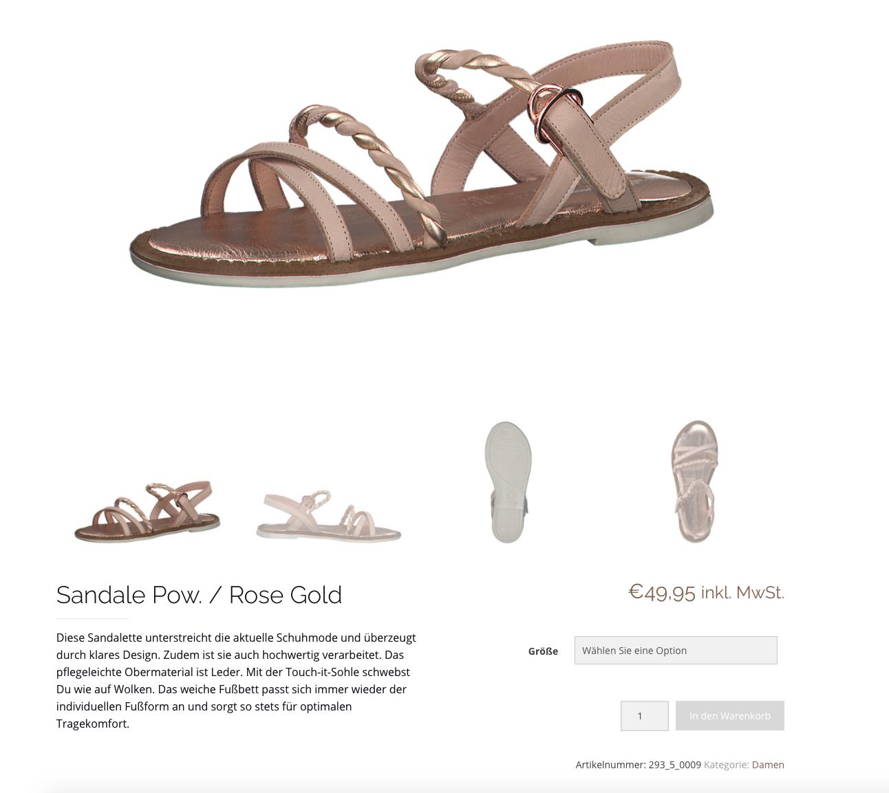 Produktansicht einer rose goldenen Sandale im Schuhhaus Pöltl Onlineshop.