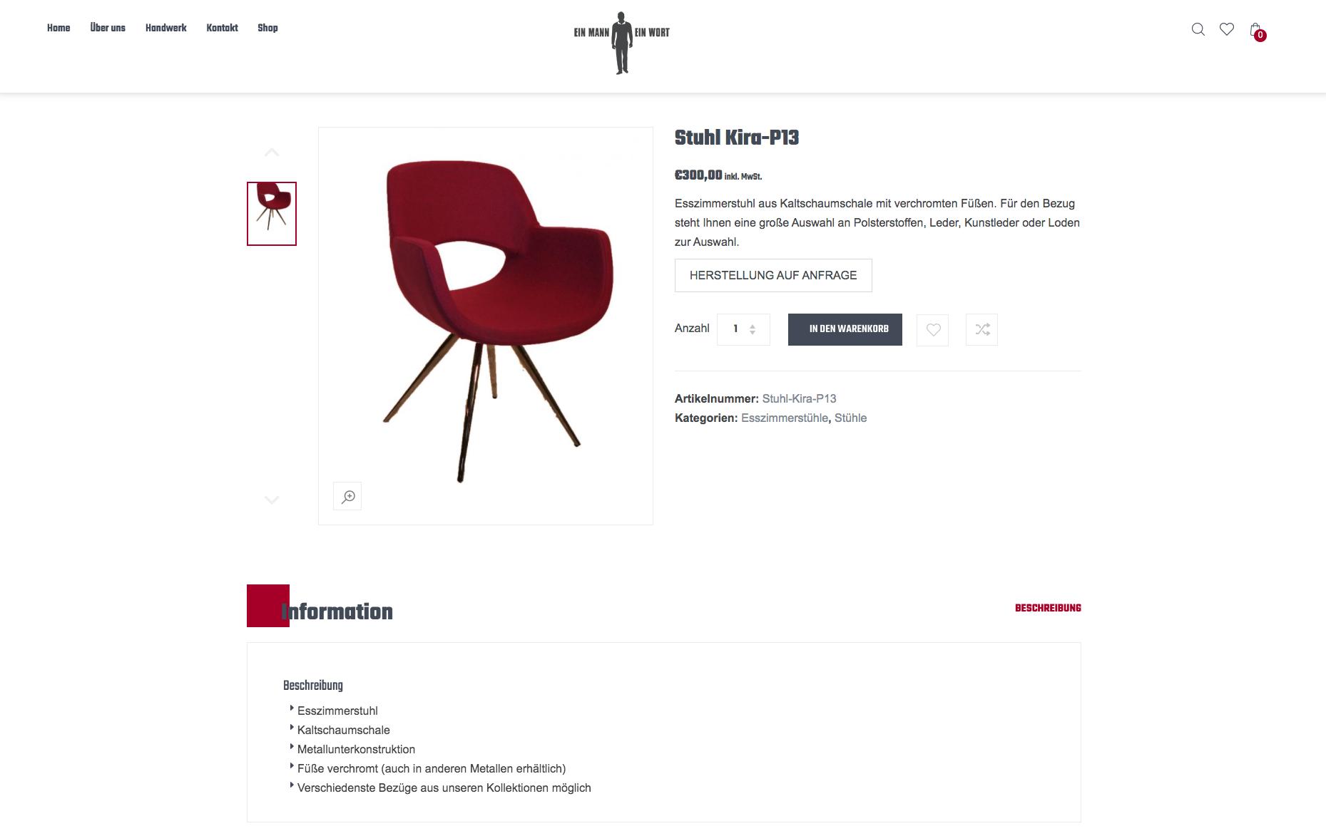 Produktansicht eines roten Stuhls im Ein Mann Ein Wort Onlineshop.