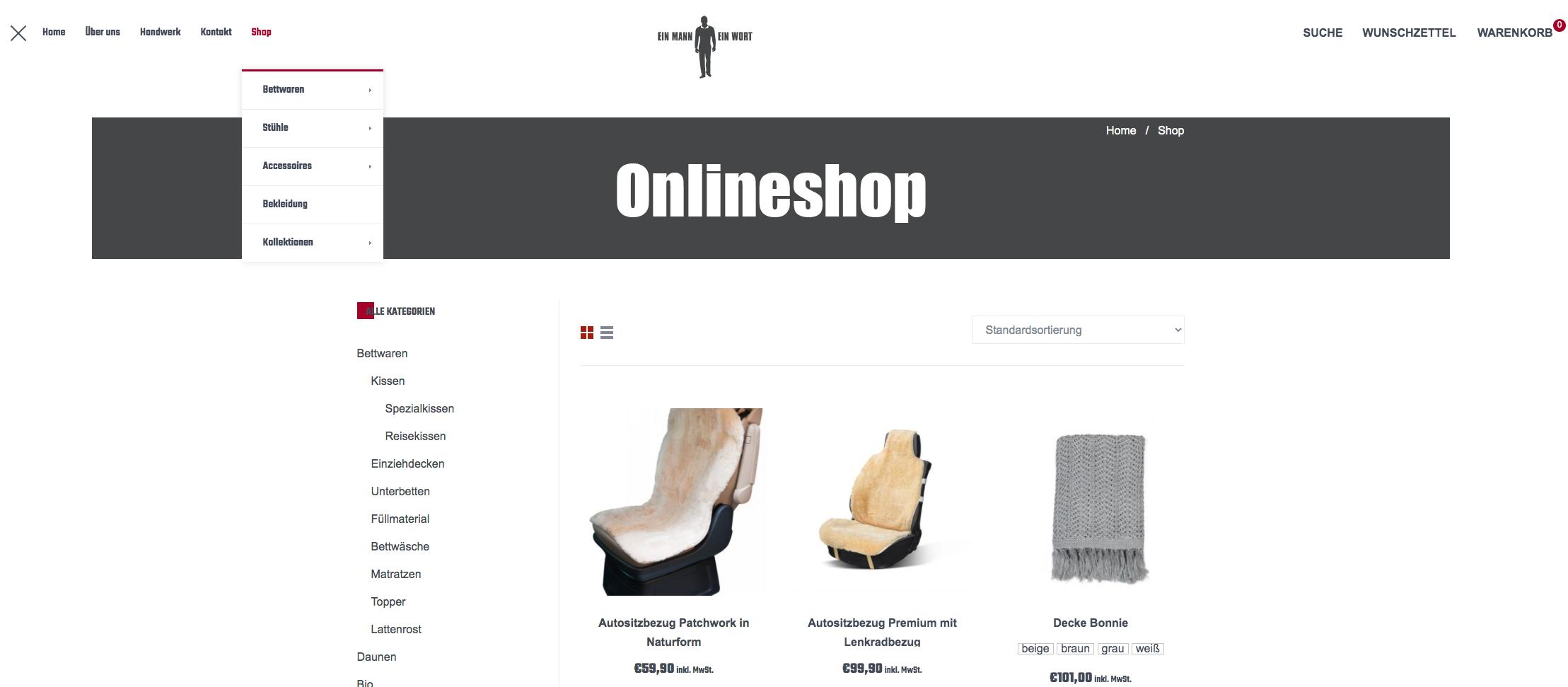 Produktübersicht im Ein Mann Ein Wort Onlineshop