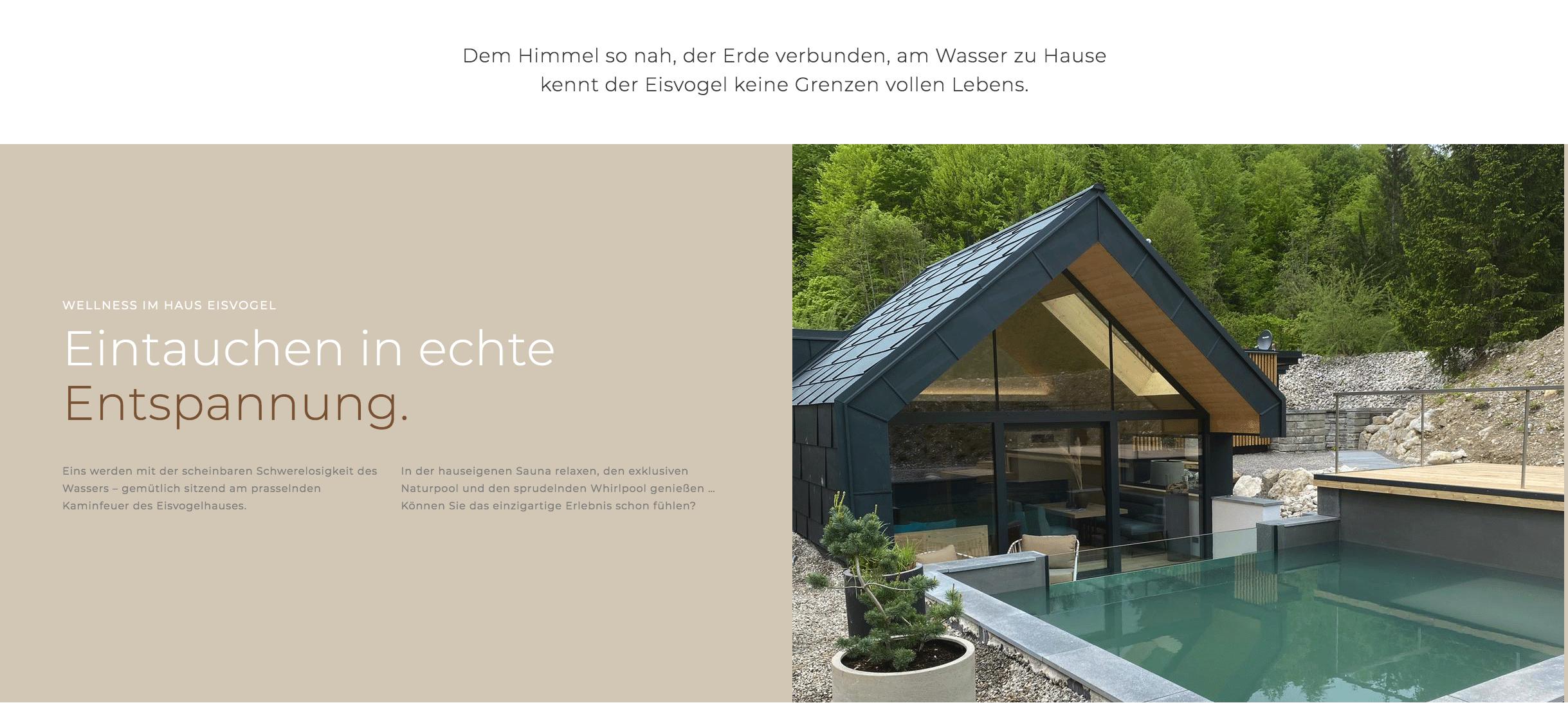 """Ausschnitt aus der FourElements Website """"Eintauchen in echte Entspannung""""."""