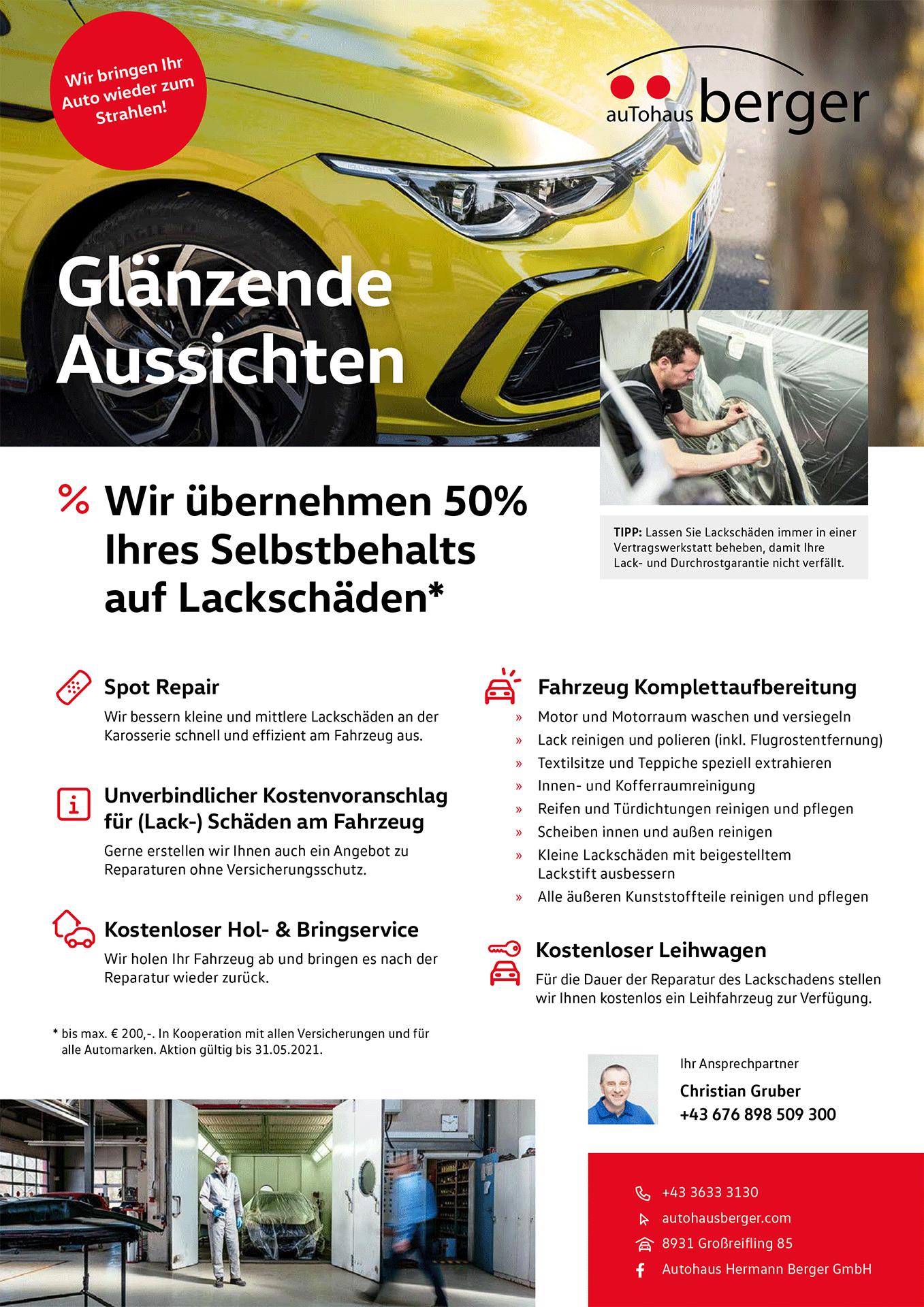 """Autohaus Berger Flugblatt """"Glänzende Aussichten"""" für die Reparatur von Lackschäden"""