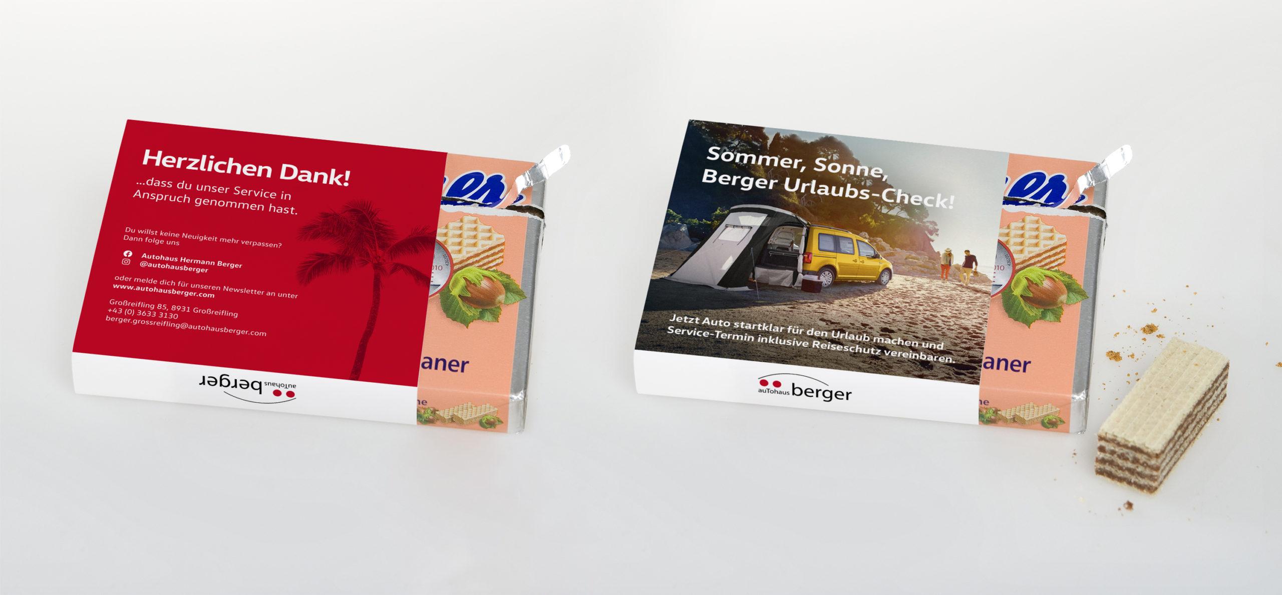 Mockup der Autohaus Berger Mannerschnitten Banderole zum Urlaubs-Check fürs Auto.