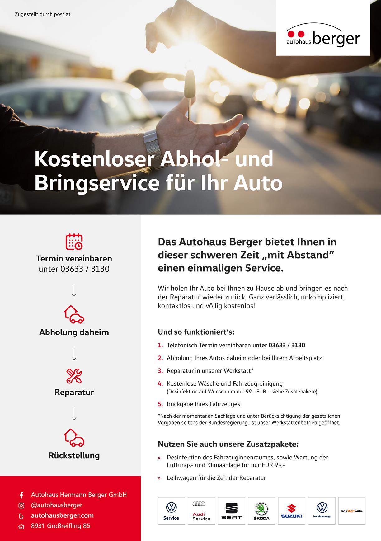 Postwurf für kostenlosen Autohaus Berger Abhol- und Bringservice.